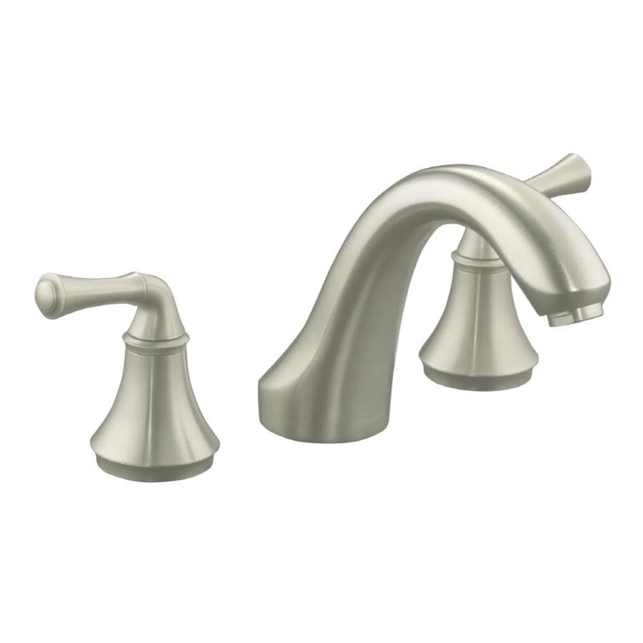Shop KOHLER Forte Vibrant Brushed Nickel 2-Handle Deck Mount ...