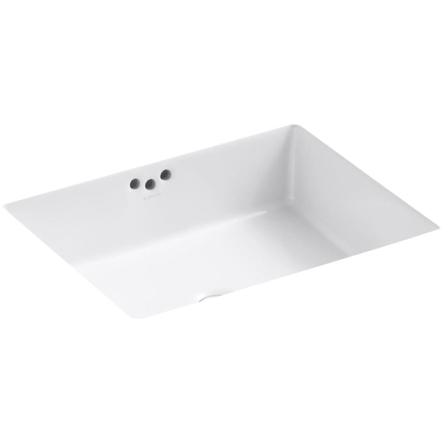 Shop kohler kathryn white undermount rectangular bathroom for Bathroom undermount sinks