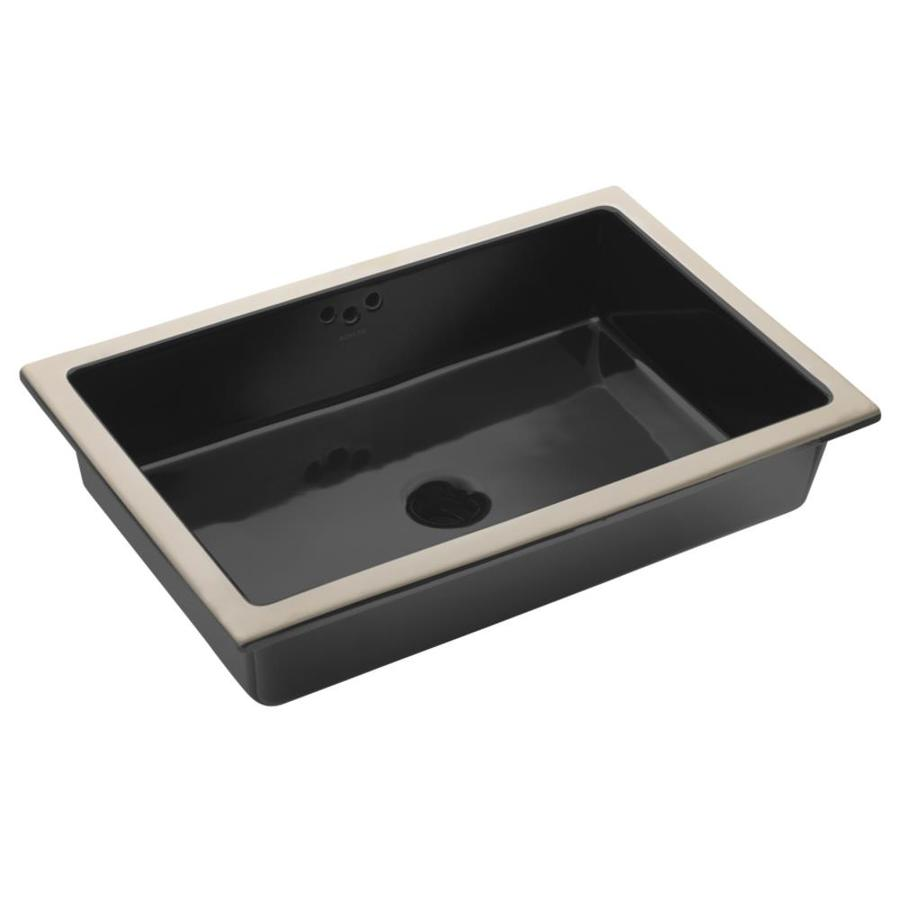 KOHLER Kathryn Black Undermount Rectangular Bathroom Sink with Overflow
