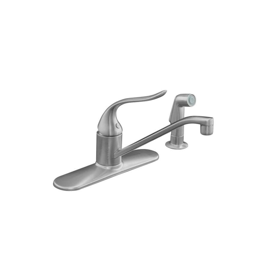 KOHLER Coralais Brushed Chrome 1-Handle Low-Arc Kitchen Faucet with Side Spray