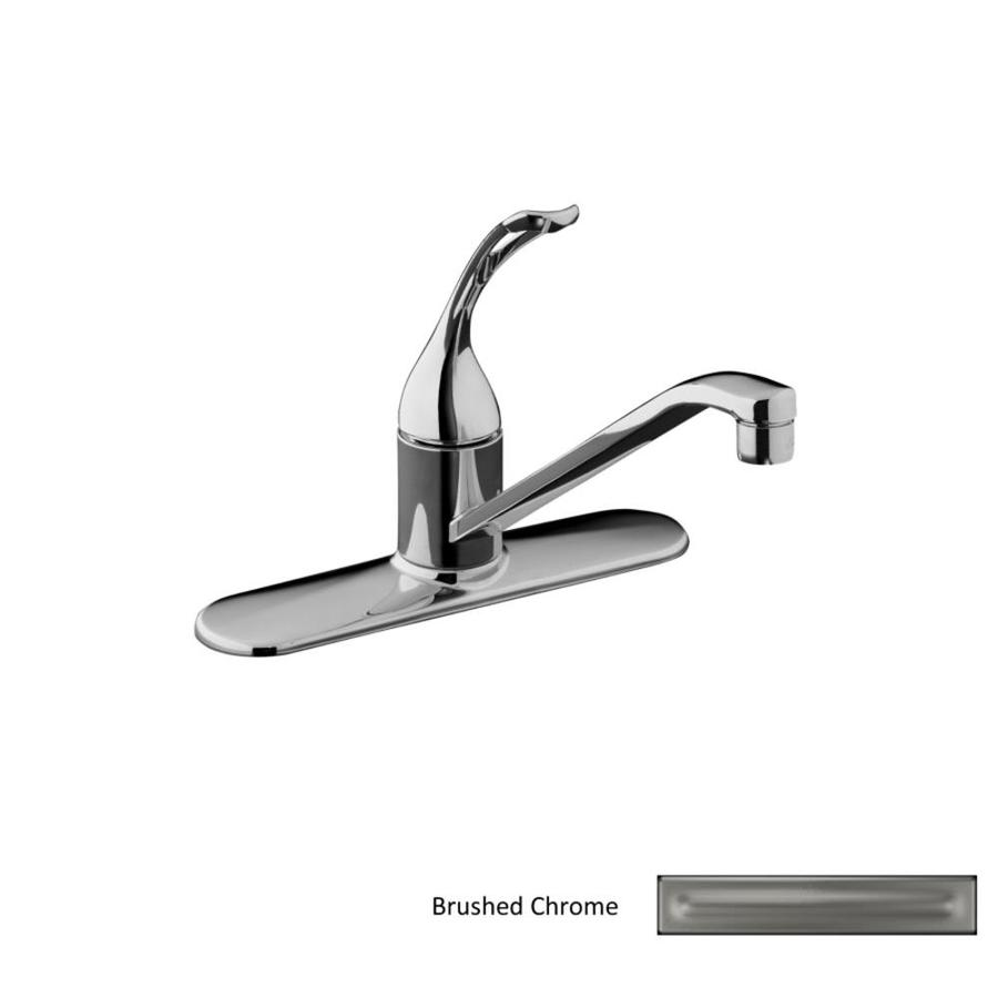 KOHLER Coralais Brushed Chrome 1-Handle Low-Arc Kitchen Faucet