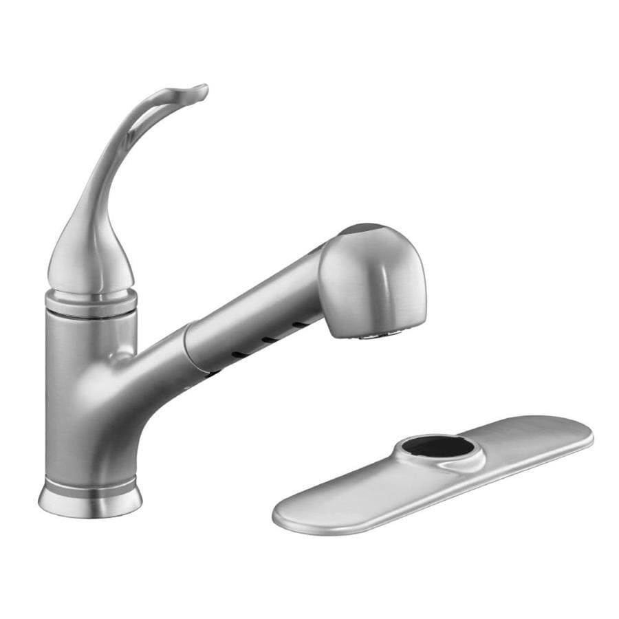 Shop KOHLER Coralais Brushed Chrome 1-Handle Pull-Out Kitchen Faucet ...