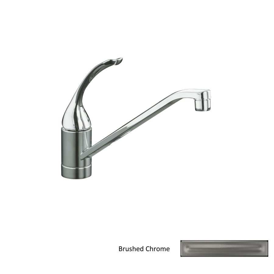 Shop kohler coralais brushed chrome 1 handle low arc kitchen faucet at for Kohler coralais bathroom faucet