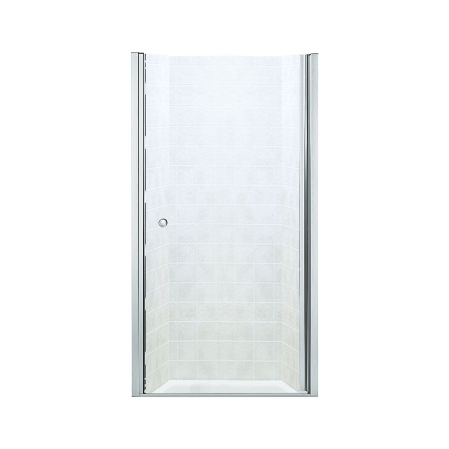 Sterling 28.75-in to 30.25-in Silver Frameless Hinged Shower Door