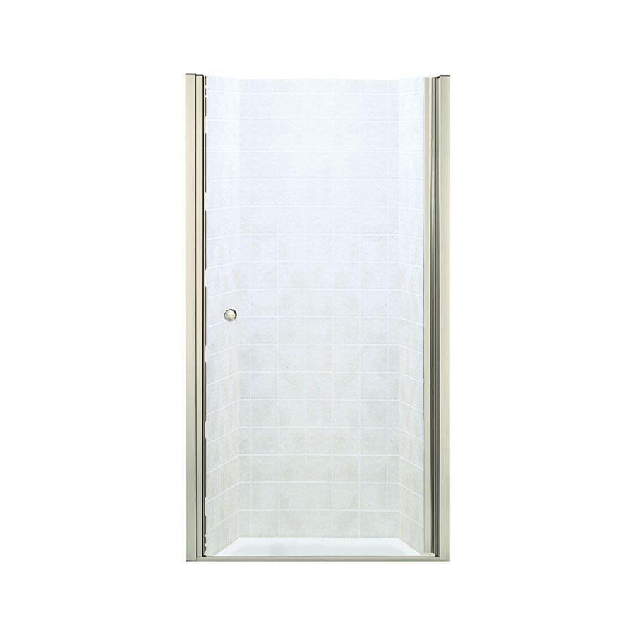 Sterling Finesse 28.75-in to 30.25-in W Frameless Brushed Nickel Hinged Shower Door