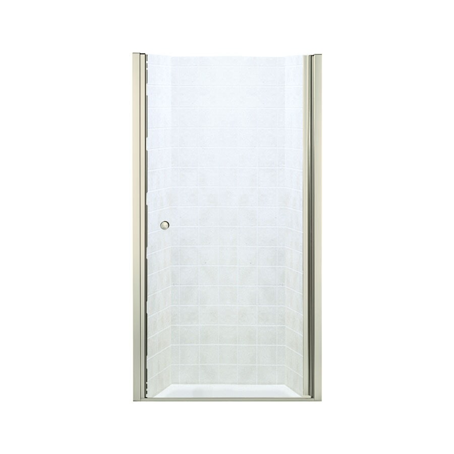 Sterling Finesse 30-in to 31.5-in W; to D Frameless Brushed Nickel Hinged Shower Door