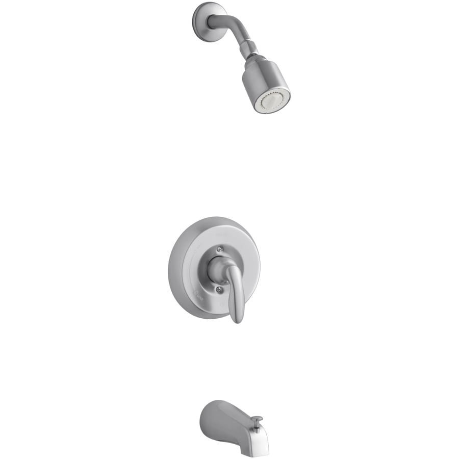 KOHLER Coralais Brushed Chrome 1-Handle Bathtub and Shower Faucet Trim Kit with Single Function Showerhead
