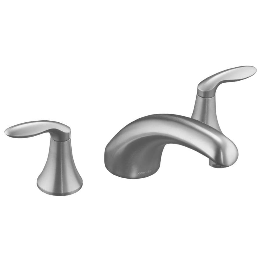 KOHLER Coralais Brushed Chrome 2-Handle Fixed Deck Mount Bathtub Faucet