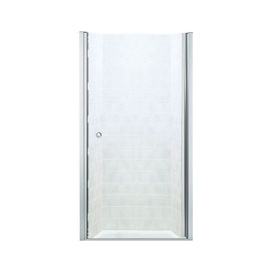 Sterling 31.25-in to 32.75-in Frameless Silver Hinged Shower Door