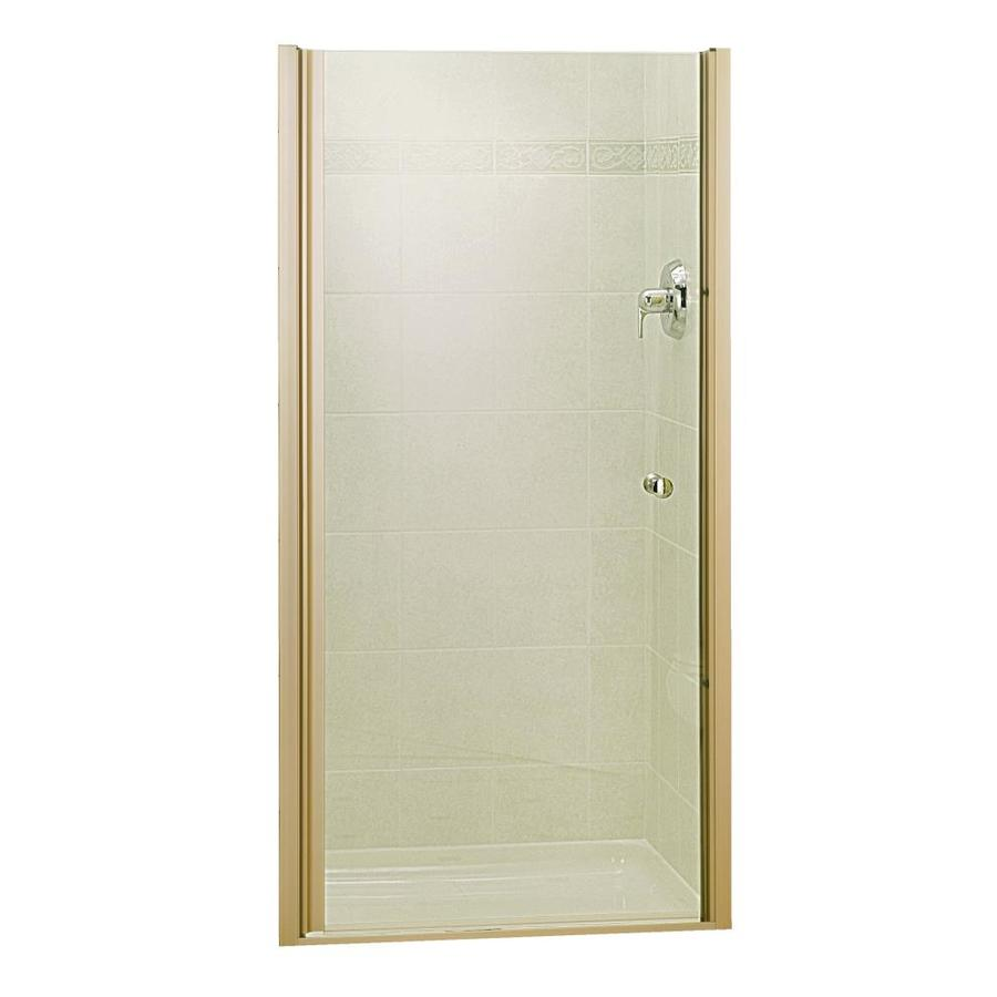 Sterling Finesse 31.25-in to 32.75-in Brushed Nickel Frameless Hinged Shower Door
