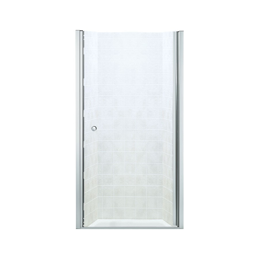 Sterling Finesse 32.5000-in to 34-in Frameless Silver Hinged Shower Door