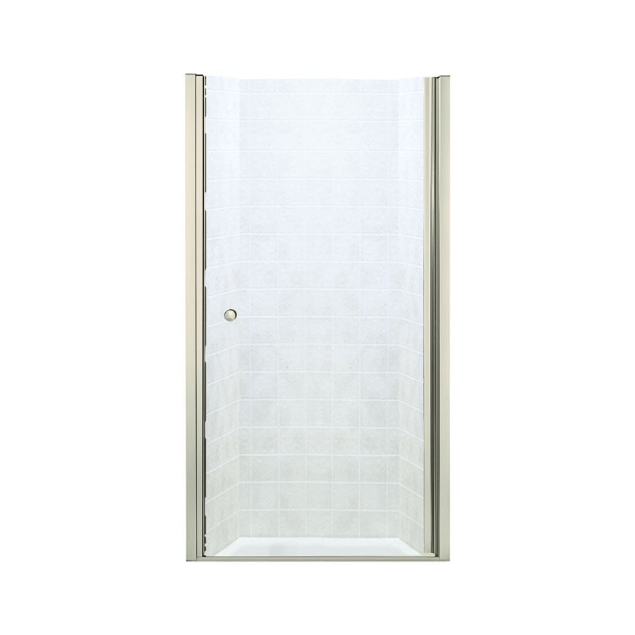 Sterling Finesse 32.5-in to 34-in W Frameless Brushed Nickel Hinged Shower Door