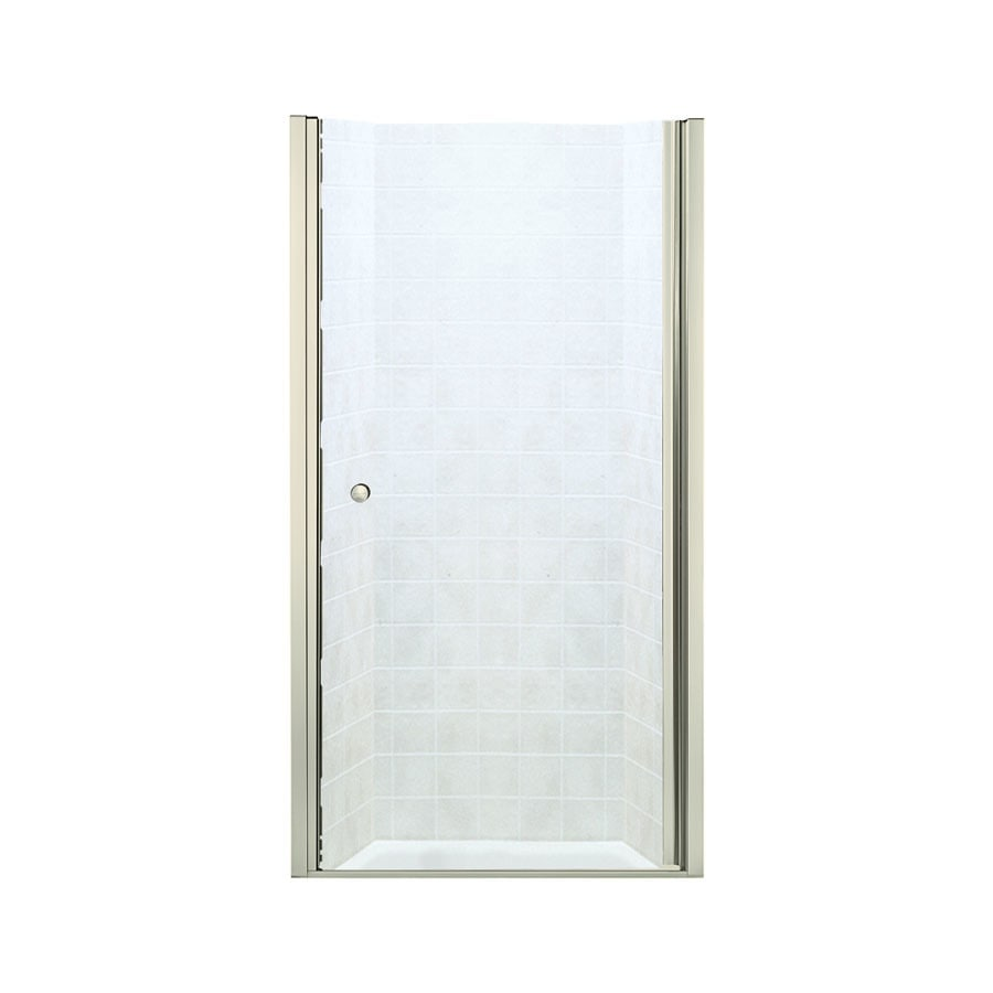 Sterling Finesse 35-in to 36.5-in Frameless Brushed nickel Hinged Shower Door