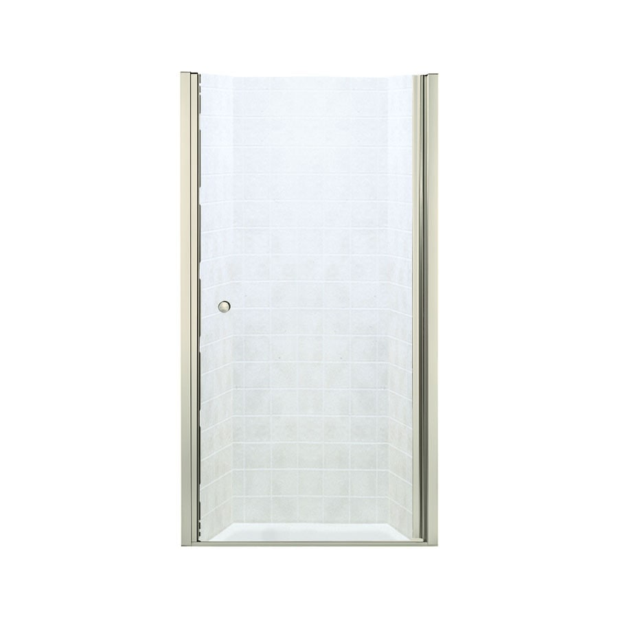 Sterling Finesse 36.25-in to 37.75-in W Frameless Brushed Nickel Hinged Shower Door