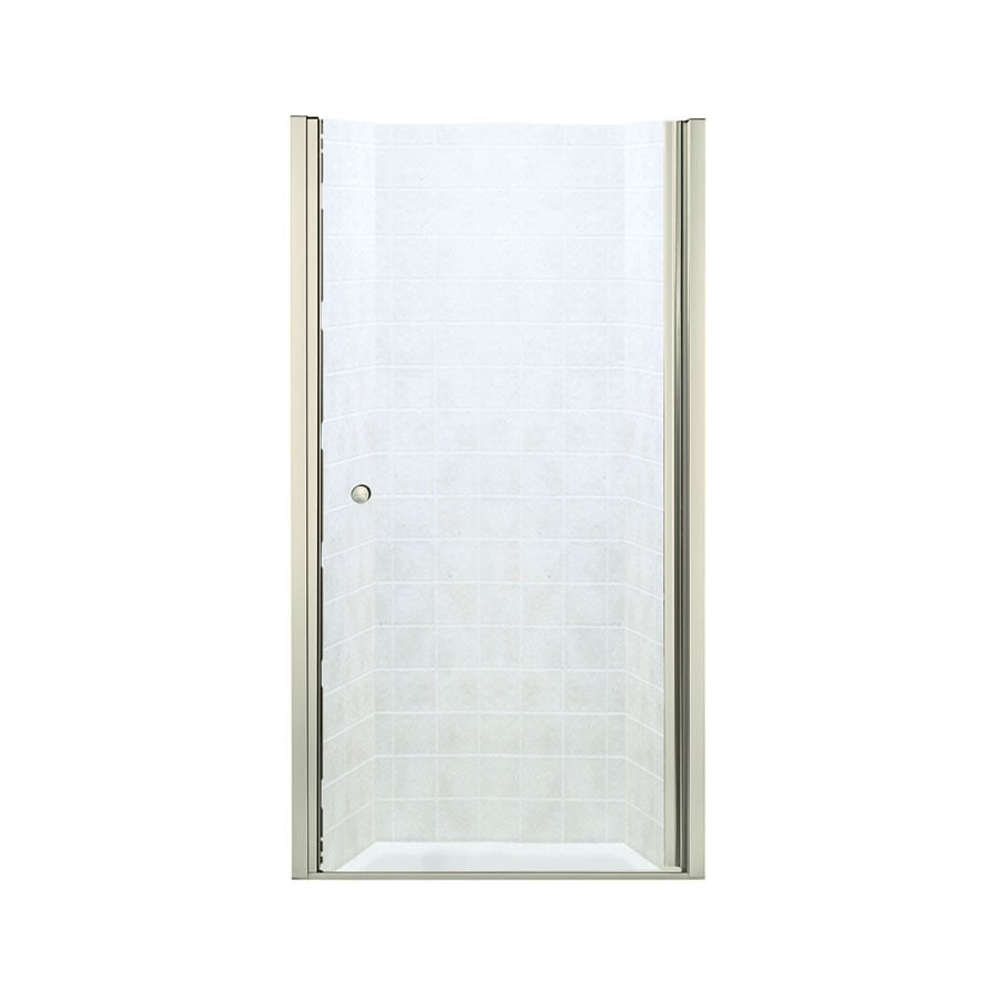 Sterling Finesse 37-in to 39-in W Frameless Brushed Nickel Hinged Shower Door