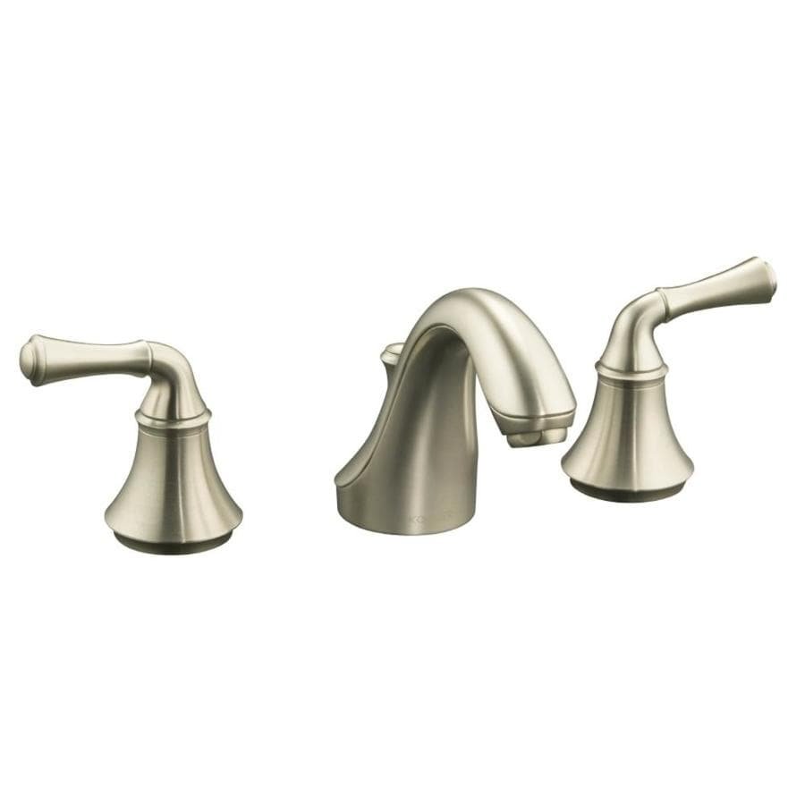 KOHLER Forte Vibrant Brushed Nickel 2-Handle Widespread WaterSense Bathroom Faucet (Drain Included)