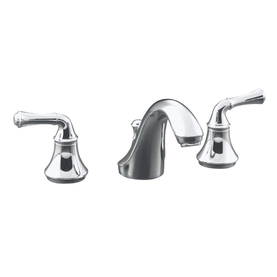 KOHLER Forte Polished Chrome 2-Handle Widespread WaterSense Bathroom Faucet (Drain Included)