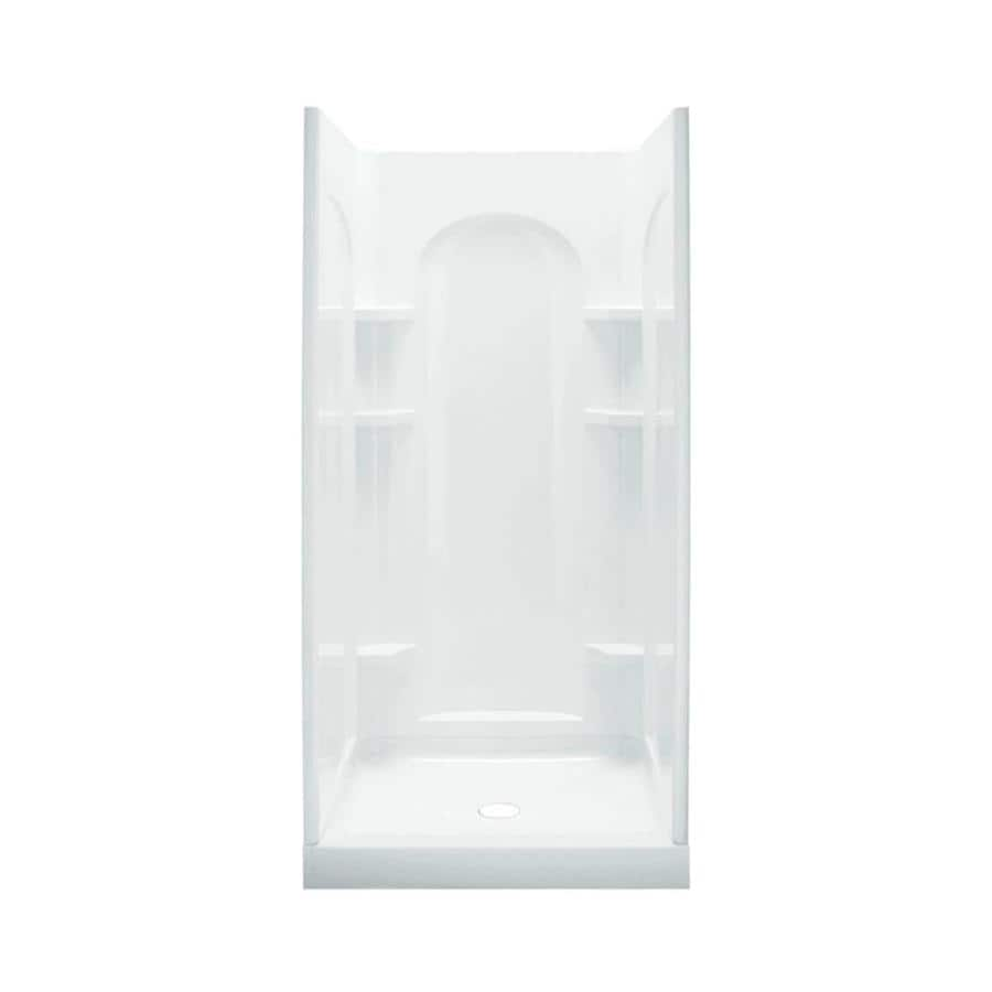 Sterling Ensemble White Vikrell Wall Vikrell Floor 4-Piece Alcove Shower Kit (Common: 34-in x 36-in; Actual: 75.75-in x 34-in x 36-in)