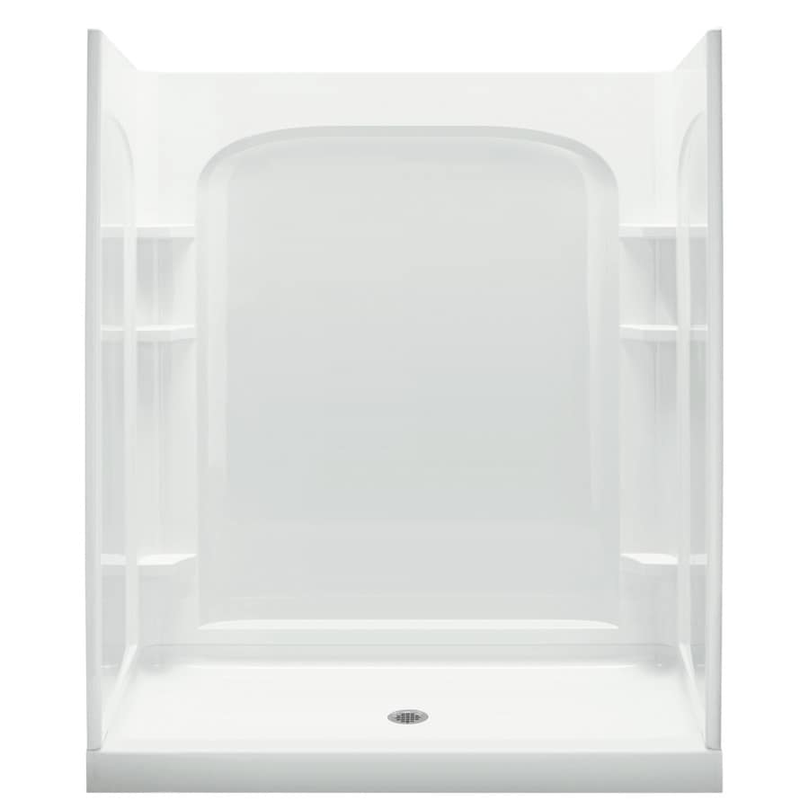 sterling ensemble white vikrell wall and floor 4piece alcove shower kit common