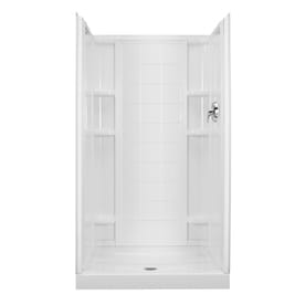 sterling white vikrell wall and floor alcove shower kit common 34in x
