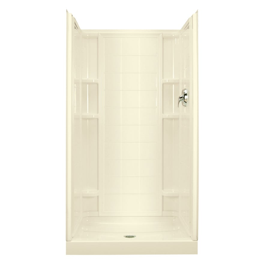 Sterling KOHLER Biscuit Vikrell Wall and Floor Alcove Shower Kit (Common: 34-in x 36-in; Actual: 77-in x 34-in x 36-in)