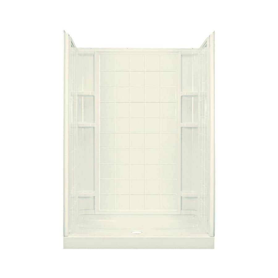 Sterling Ensemble Biscuit Wall Vikrell Floor 4-Piece Alcove Shower Kit (Common: 34-in x 60-in; Actual: 75.7500-in x 34-in x 60-in)