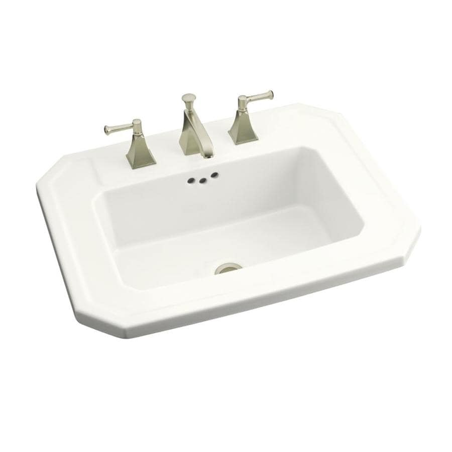 Shop Kohler Kathryn White Drop In Rectangular Bathroom Sink With Overflow At