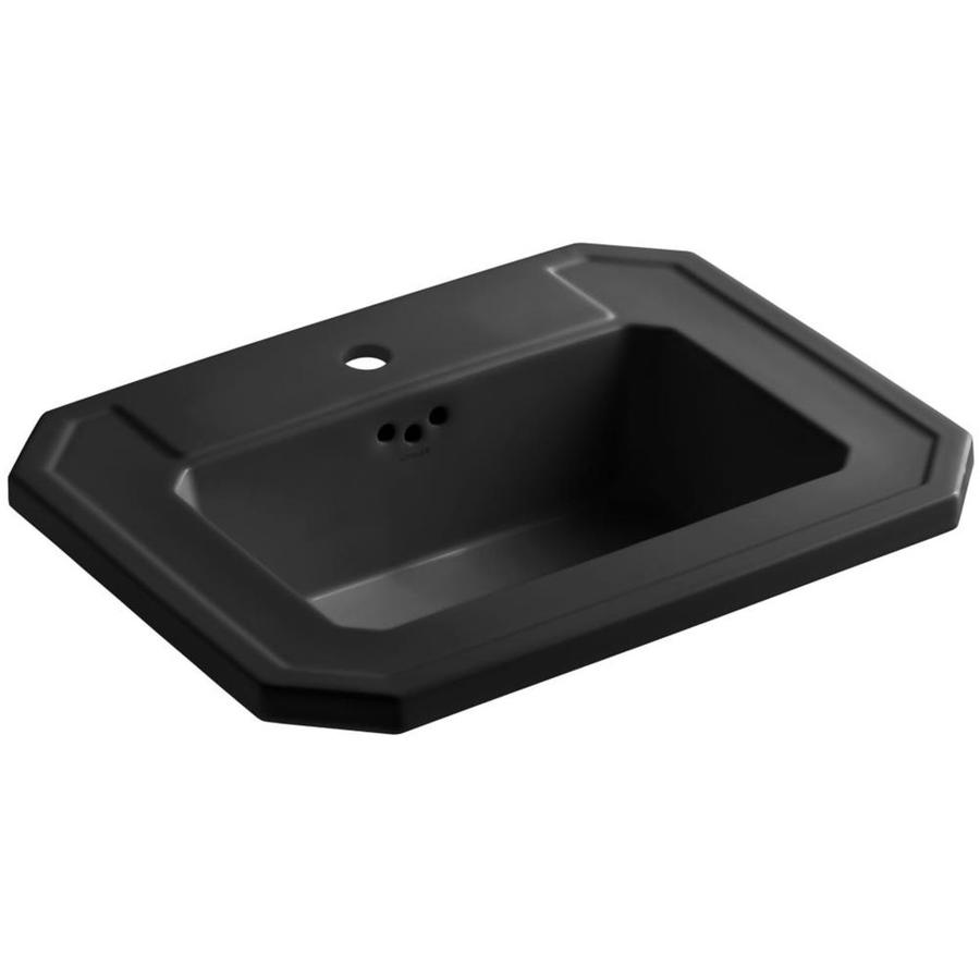 KOHLER Kathryn Black Drop-in Rectangular Bathroom Sink with Overflow