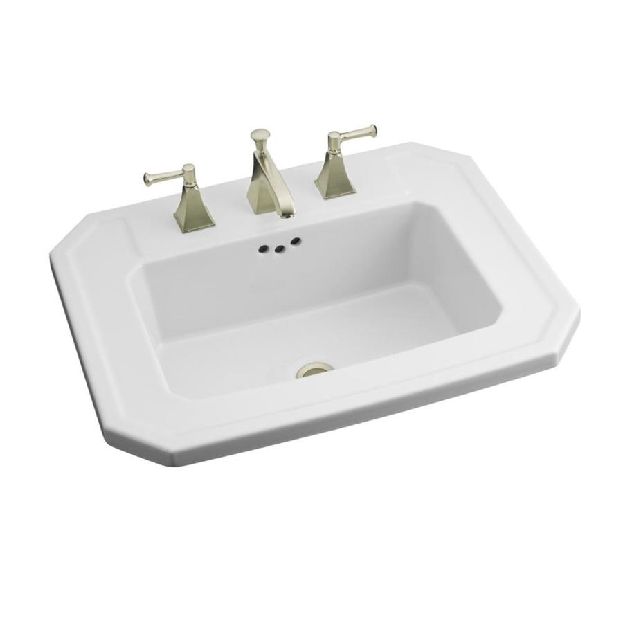 KOHLER Kathryn White Drop-in Rectangular Bathroom Sink