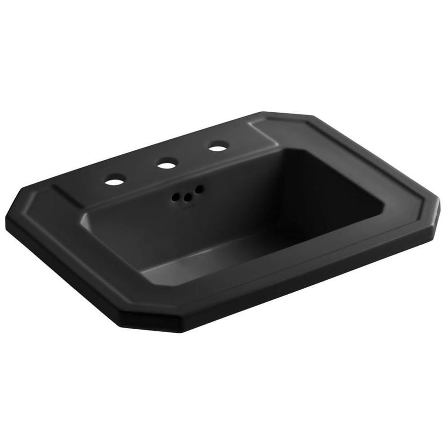 black drop in bathroom sink shop kohler kathryn black drop in rectangular bathroom 22765