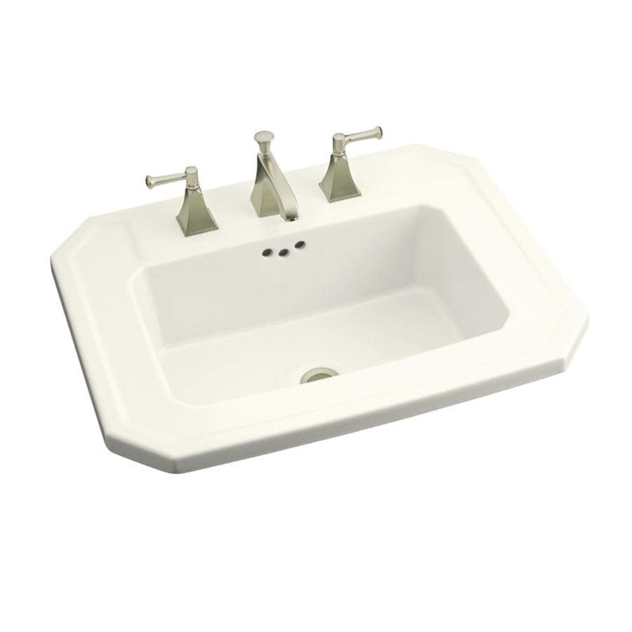 KOHLER Kathryn Biscuit Drop-in Rectangular Bathroom Sink with Overflow