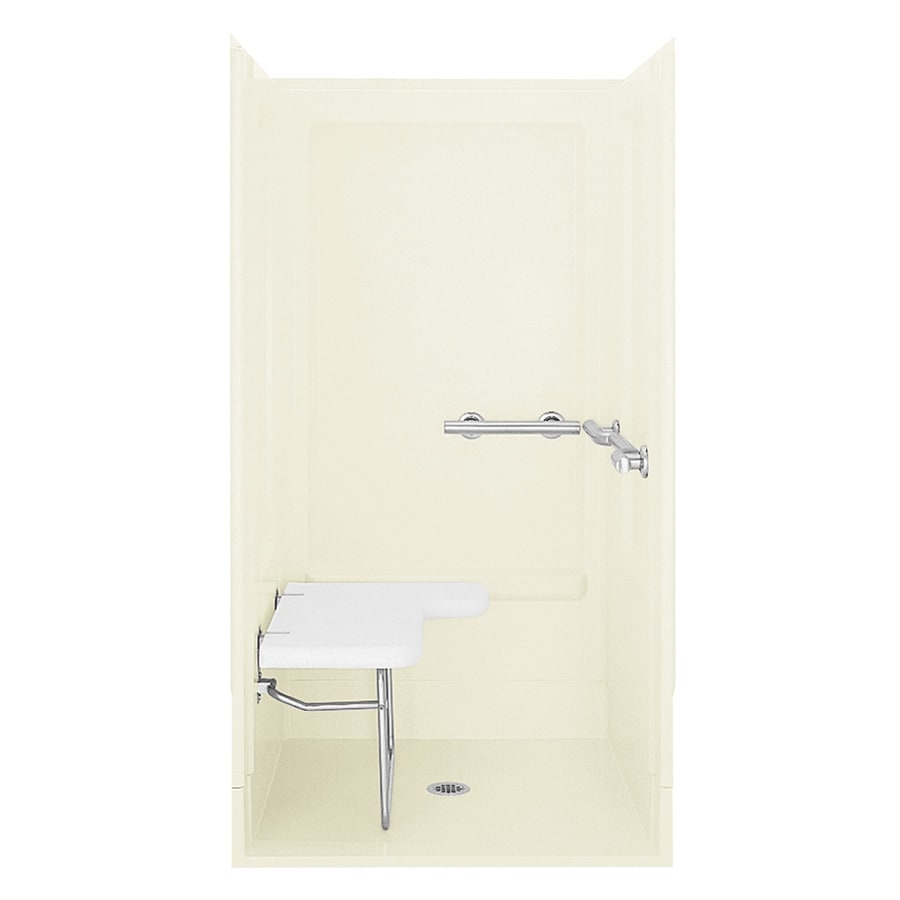 Sterling Biscuit Fiberglass and Plastic One-Piece Shower with Integrated Seat (Common: 40-in x 40-in; Actual: 73.25-in x 39.375-in x 39.375-in)