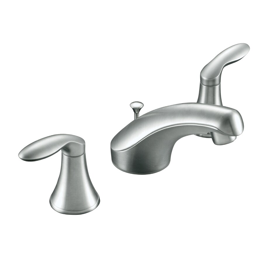 Shop kohler coralais brushed chrome 2 handle widespread watersense bathroom faucet drain for Kohler coralais bathroom faucet