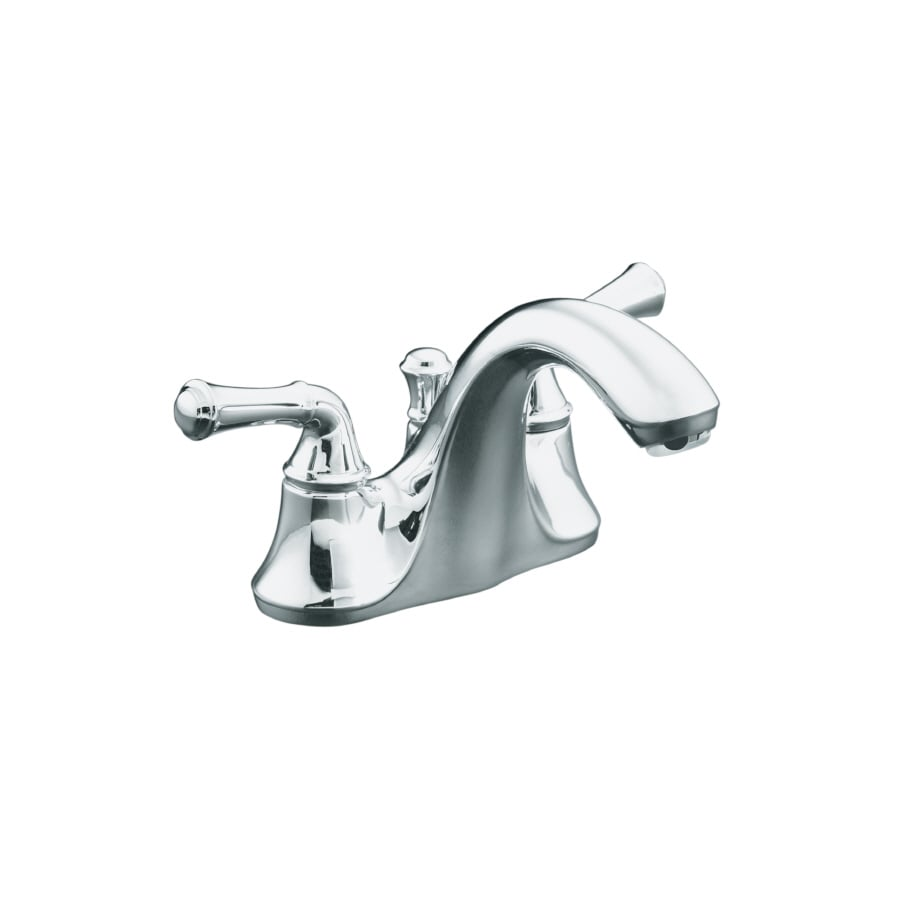 KOHLER Forte Polished Chrome 2-Handle 4-in Centerset WaterSense Bathroom Faucet (Drain Included)