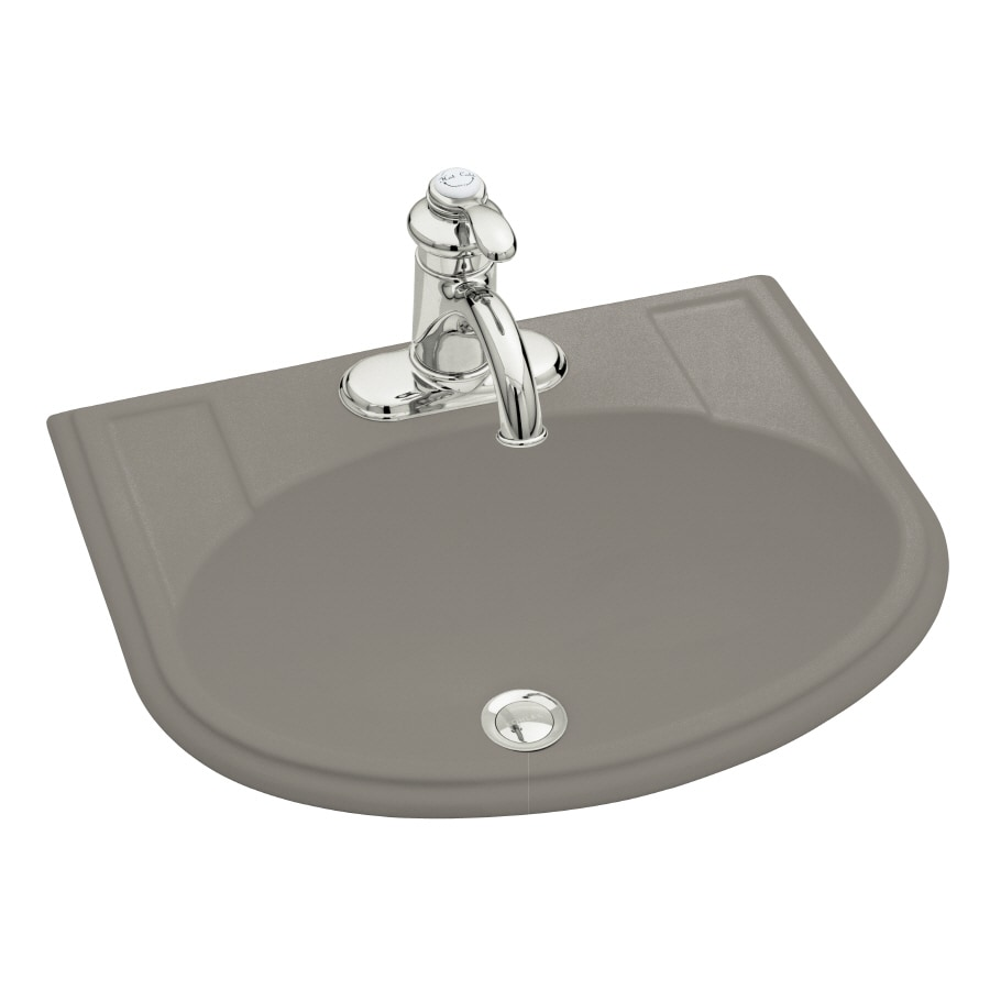 KOHLER Devonshire Cashmere Drop-in Oval Bathroom Sink with Overflow