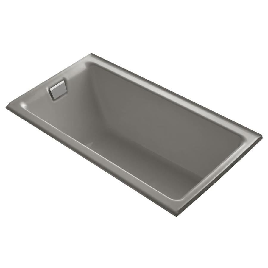 KOHLER Tea-for-Two 66-in Cashmere Cast Iron Drop-In Bathtub with Left-Hand Drain