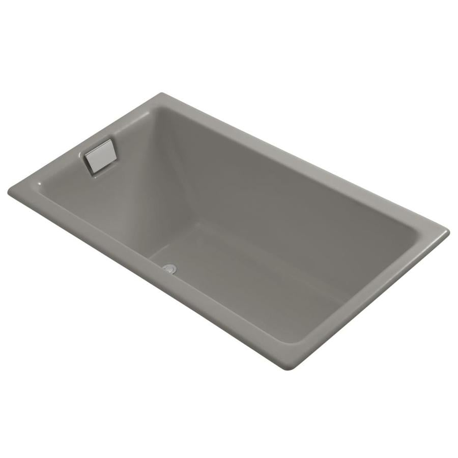 KOHLER Tea-For-Two Cashmere Cast Iron Rectangular Drop-in Bathtub with Reversible Drain (Common: 36-in x 66-in; Actual: 24.0-in x 36.0-in x 66.0-in)
