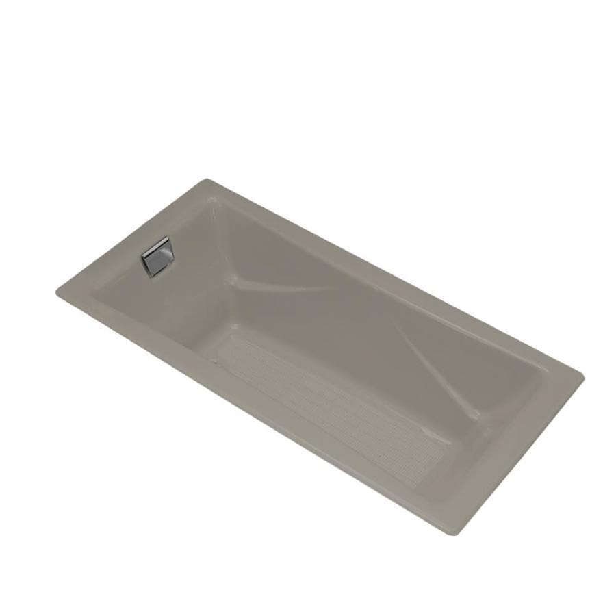 KOHLER Tea-for-Two 71.75-in Cashmere Cast Iron Drop-In Bathtub with Reversible Drain