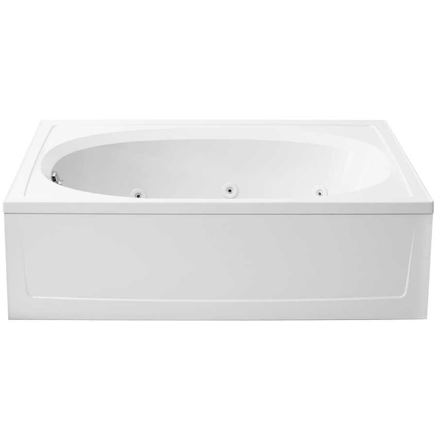Shop sterling tranquility 60 in white vikrell alcove for Oval garden tub
