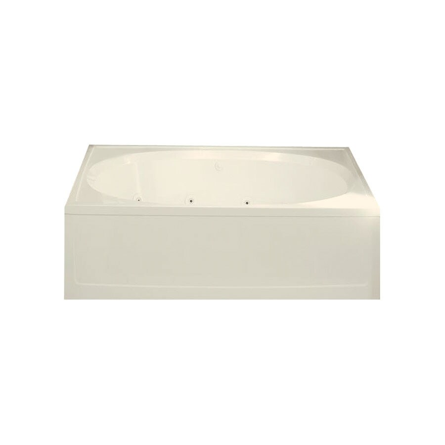 Sterling Tranquility 60-in Biscuit Vikrell Alcove Whirlpool Tub with Reversible Drain