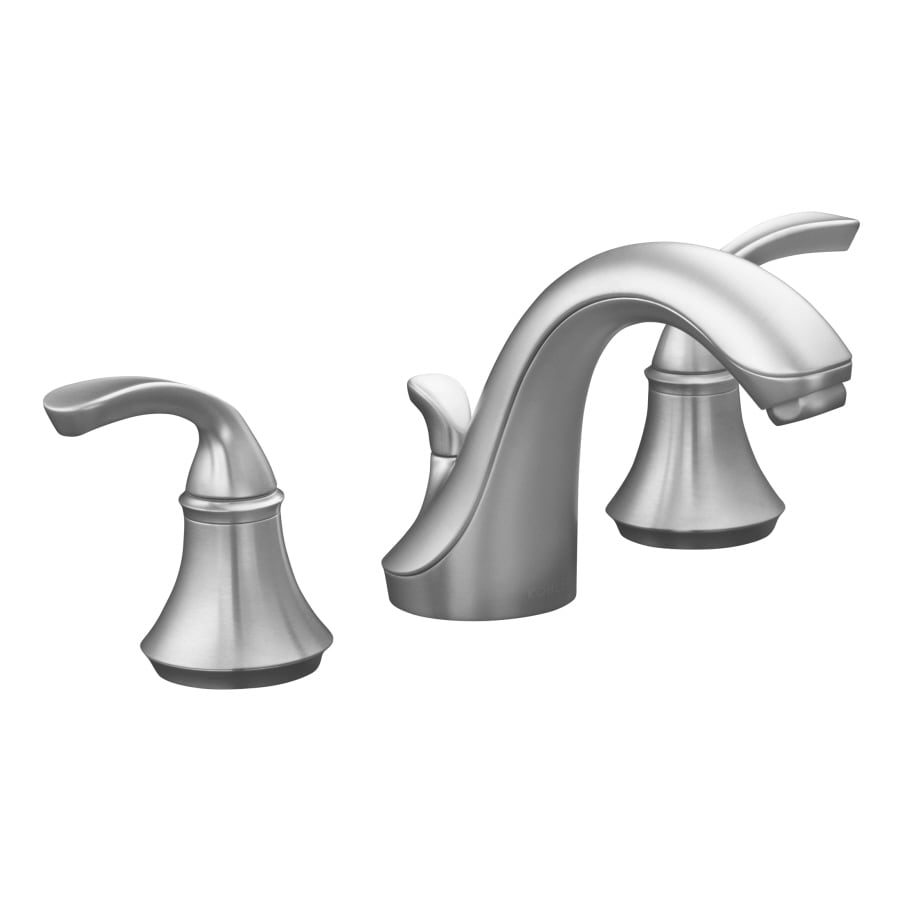 Shop Kohler Forte Brushed Chrome 2 Handle Widespread Bathroom Faucet Drain Included At