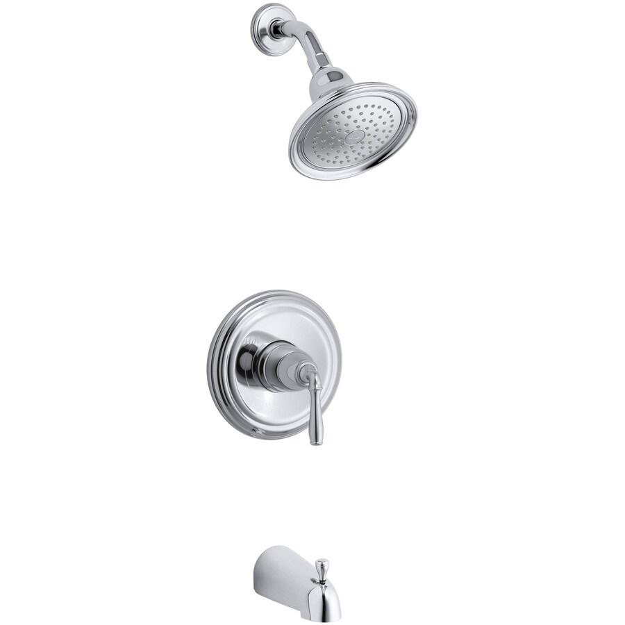 KOHLER Devonshire Polished Chrome 1-Handle Bathtub and Shower Faucet Trim Kit with Single Function Showerhead