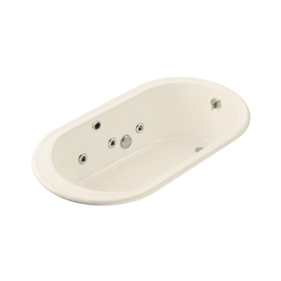 KOHLER Iron Works 2-Person Almond Cast Iron Oval Whirlpool Tub (Common: 36-in x 66-in; Actual: 19-in x 36-in x 66-in)