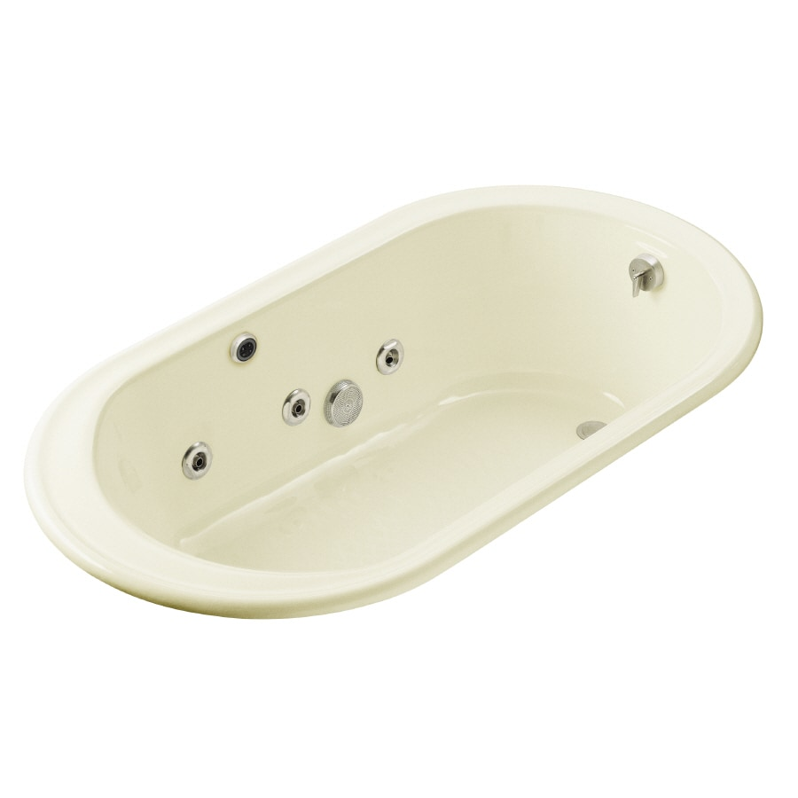 KOHLER Iron Works Biscuit Cast Iron Oval Whirlpool Tub (Common: 36-in x 66-in; Actual: 19.25-in x 36-in x 66-in)