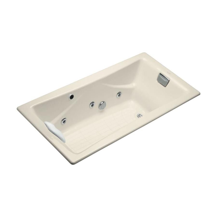 KOHLER Tea-For-Two 71.75-in Almond Cast Iron Drop-In Whirlpool Tub with Reversible Drain