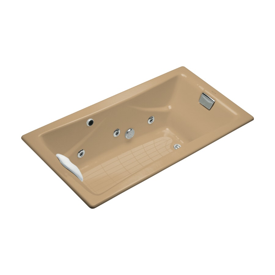 KOHLER Tea-For-Two 71.75-in Mexican Sand Cast Iron Drop-In Whirlpool Tub with Reversible Drain