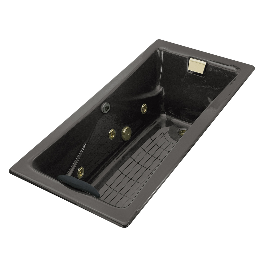 KOHLER Tea-For-Two 2-Person Thunder Grey Cast Iron Rectangular Whirlpool Tub (Common: 36-in x 72-in; Actual: 20.875-in x 36-in x 71.75-in)