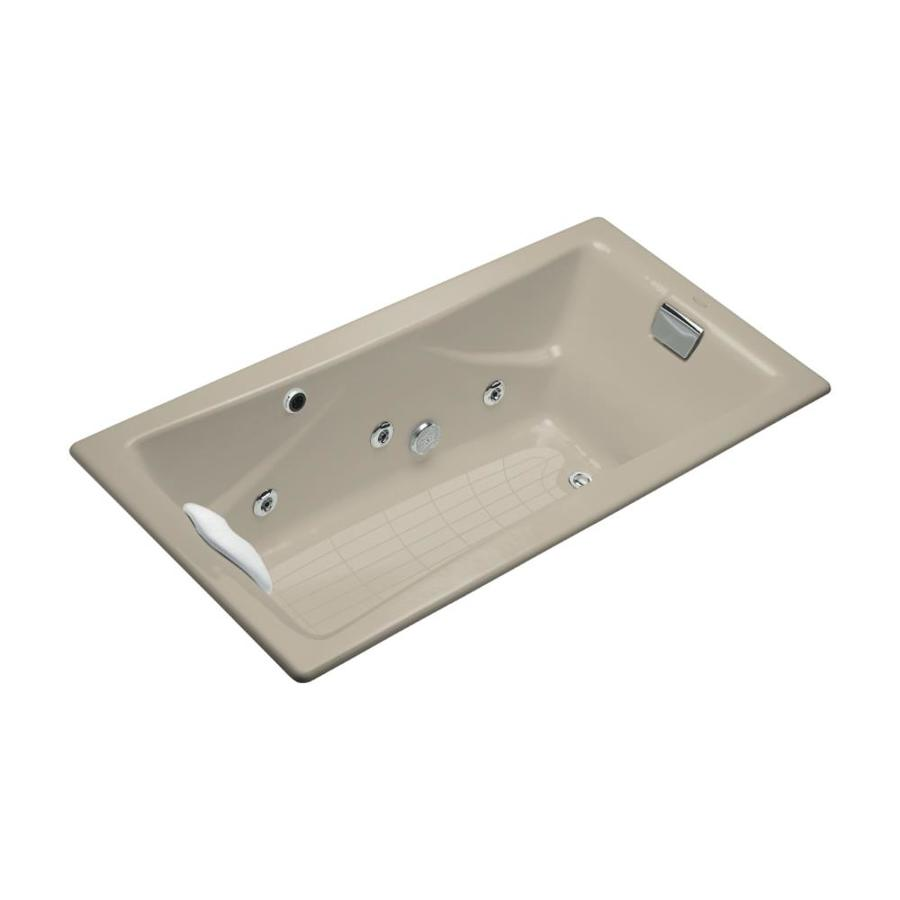 KOHLER Tea-For-Two 71.75-in Sandbar Cast Iron Drop-In Whirlpool Tub with Reversible Drain