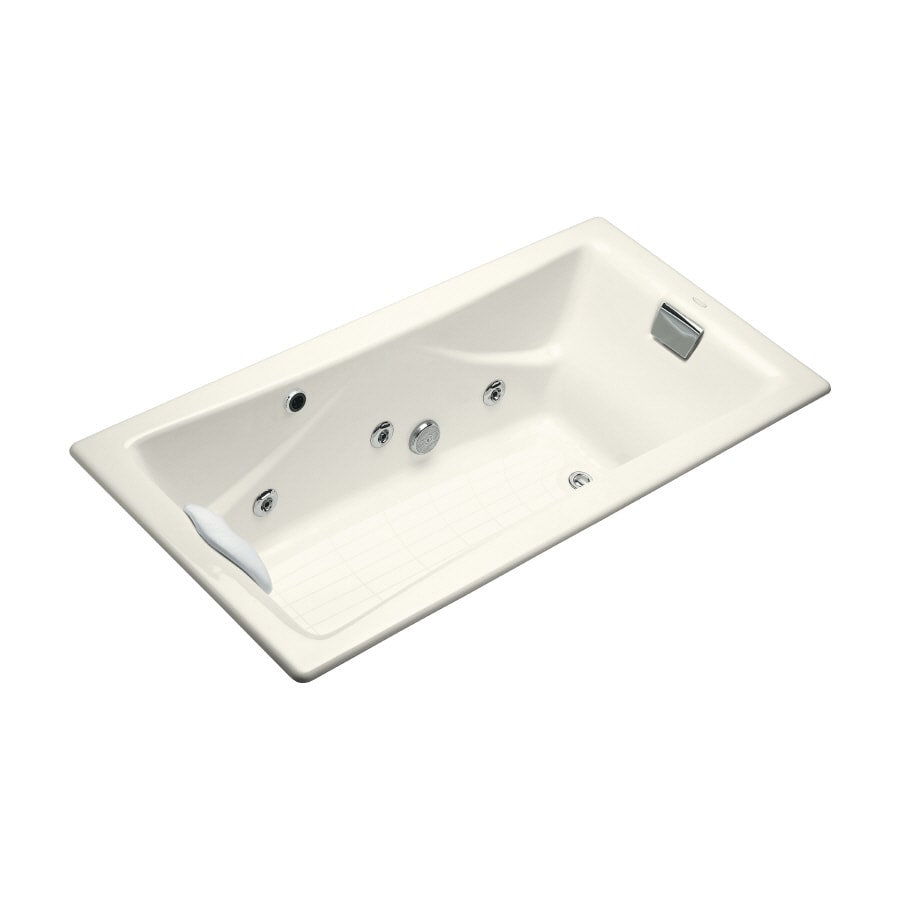 KOHLER Tea-For-Two 71.75-in Biscuit Cast Iron Drop-In Whirlpool Tub with Reversible Drain