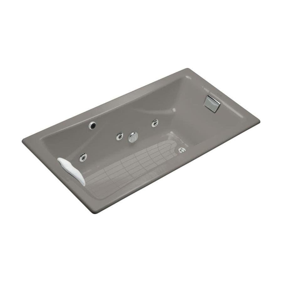 KOHLER Tea-For-Two 71.75-in Cashmere Cast Iron Drop-In Whirlpool Tub with Reversible Drain